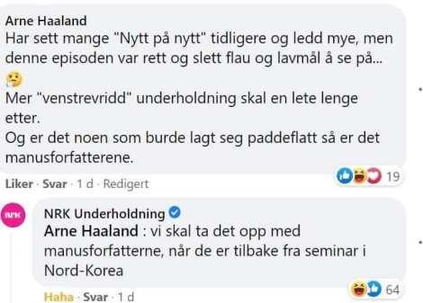 Kongelig svar fra NRK underholdning!